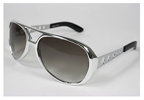 Classic Elvis Rock N' Roll Sunglasses (Silver w/Smoke - Elvis Tcb Sunglasses