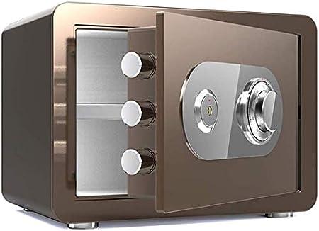 DBSCD Cajas Fuertes para el hogar Contraseña electrónica Caja Fuerte para el hogar Gabinete con Doble Llave ignífuga Caja Fuerte de 35 * 25 * 25 cm (Café Dorado): Amazon.es: Hogar