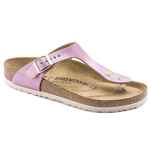 (Birkenstock Women's Gizeh Sandal Washed Metallic Pink Suede Size 41 M EU)