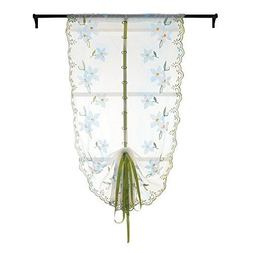 Whitelotous Lifting Roll up,Rome Embroidery Series,Lace Draperies,Window Curtain,for Bedroom Balcony Kitchen39.37 X 31.5 inch (Blue)