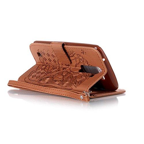 Funda LG K8, Carcasa Plegable para LG Phoenix 2, Funda de cuero LG K8, Lifetrut Sólido Shiny Sparkle libro de estilo funda de cuero con ranura para tarjetas de cierre magnético soporte funda de teléfo E216-Rose Flor en marrón