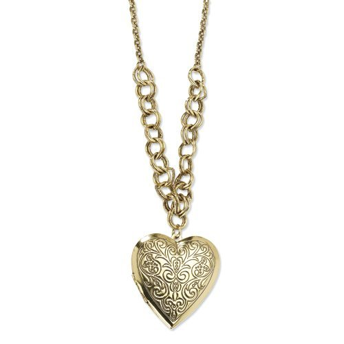 1928 Brass-tone Heart Locket on 28 Necklace ()