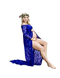 WYTong Sexy Maternity Dress, Womens Photography Slash Neck Lace Gown See-Through Split Long Dress