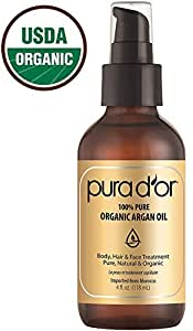 PURA D'OR (4 oz) Organic Moroccan Argan Oil 100% Pure Cold Pressed, USDA Certified Organic, All Natural Anti-Aging Moisturizer Treatment for Face, Hair, Skin & Nails, Men & Women (Packaging may vary)