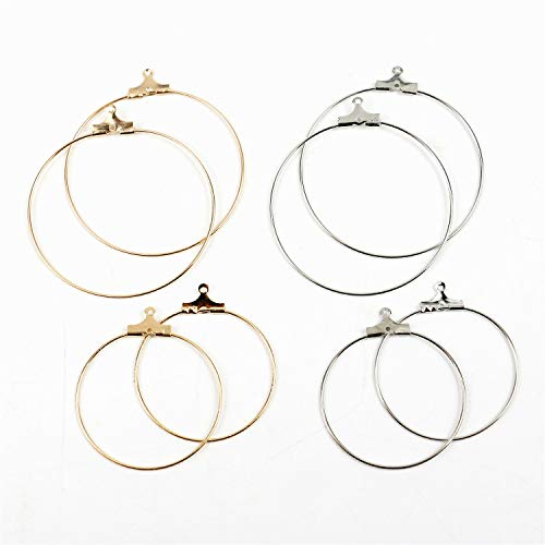 Fciqven 40Pcs Gold&Silver Round Beading Hoop Earring Finding with 1mm Loop for Earring Jewelry Making