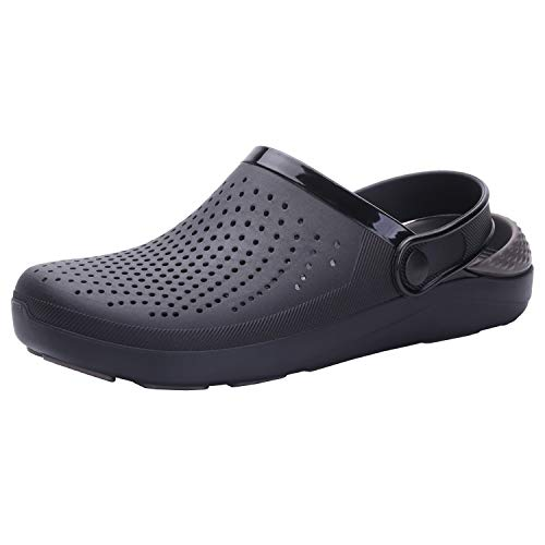 SIKELO Men's and Women's Garden Clogs Shoes Sandals Slippers Black-Grey