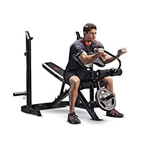 Marcy Adjustable Olympic Weight Bench with Leg Developer and Squat Rack MD 879