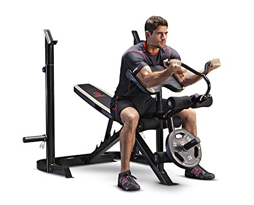 Marcy Adjustable Olympic Weight Bench with Leg Developer and Squat Rack MD-879 (Marcy Weight Bench Set)