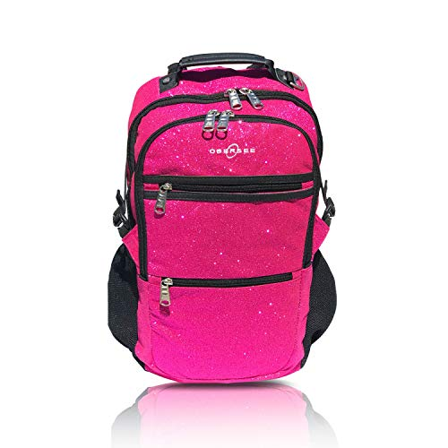 Paris Laptop Carrying Backpack - Sparkle Dance and Gymnastics Bag for Girls, Women, and Dancers, Comfy and Durable Backpack with Spacious Pockets and Laptop Compartment, Measures 7 in x 18 in x 12 in (Pink) - Obersee