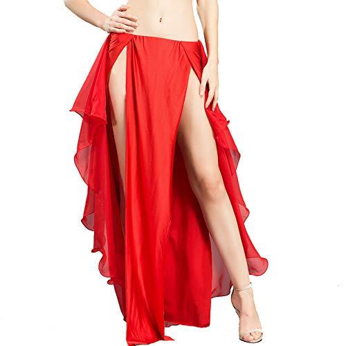 ROYAL SMEELA Chiffon Belly Dance Skirt Women, One Size, Red Belly Dancing Skirts Dance Dress, 6 ()