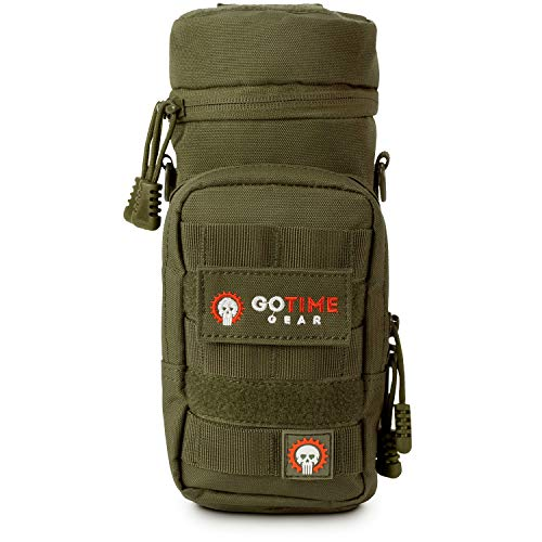 Go Time Gear Exo-Tek H2O MOLLE Water Bottle Pouch Hydration Carrier – Use as MOLLE Water Bottle Holder, Tactical Water Pouch, Hydration Carrier – Fits Up to 40 oz. Wide-Mouth Bottles (OD Green)
