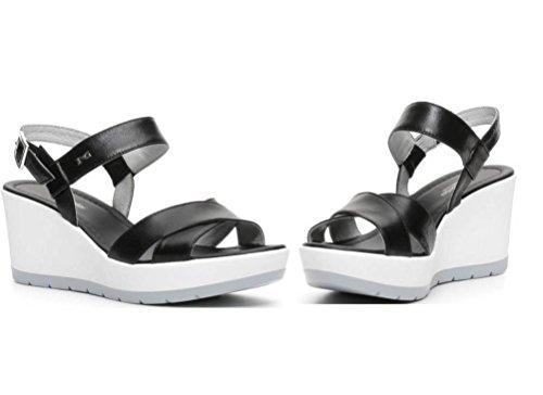 de negro vestir Sandalias para Giardini Piel Nero mujer de vfEwSS7q