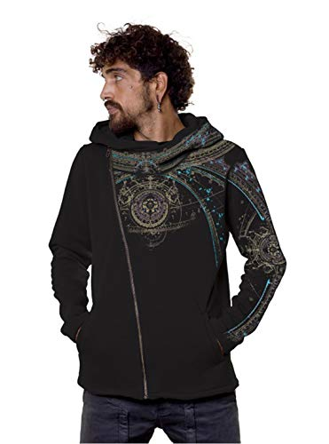 Men's Portal Hoodie Graphic Print Psychedelic Heavy Festival Zip Pullover Large Black