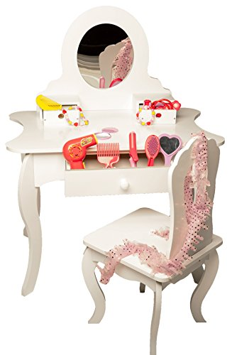 MMP Living Girls Vanity Set with Mirror, Storage and Chair - White