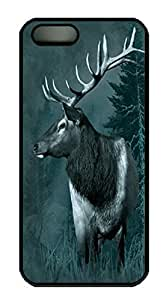 Covers Elk in Field Custom PC Hard Case Cover for iPhone 5/5S Black