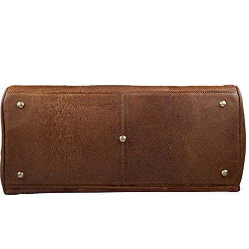 STILORD Reisetasche 'Montana' aus echtem Leder / Umhängetasche mit Griff / Weekender Bag / Design: Vintage Retro / Farbe: cognac braun