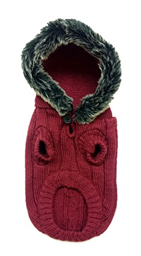 Fashion Pet 652323 Merlot Outdoor Dog Faux Fur Hooded Sweater, X-Small For Sale