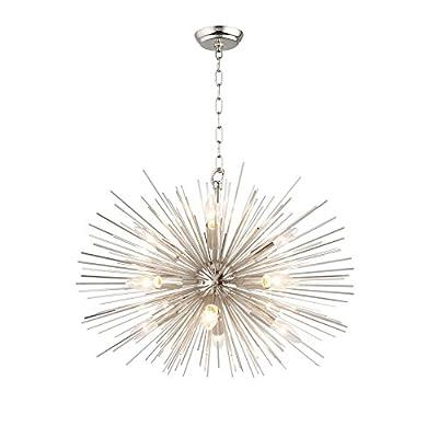 """Urchin Chandelier 24"""" Emme Starburst 12 Light Pendant Lamp Astra Silver Sputnik Ceiling Lamp Satellite Nickel Polished Kitchen Island Center Dining Living Room"""