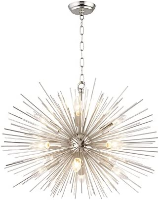 Urchin Chandelier 24″ Emme Starburst 12 Light Pendant Lamp Astra Silver Sputnik Ceiling Lamp Satellite Nickel Polished Kitchen Island Center Dining Living Room