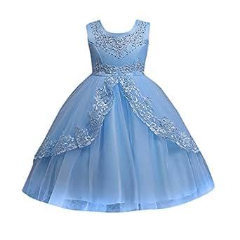 28a76c1b32b1 Amazon.com  Kids Toddler Baby Girls Dresses Sleeveless Solid Lace ...