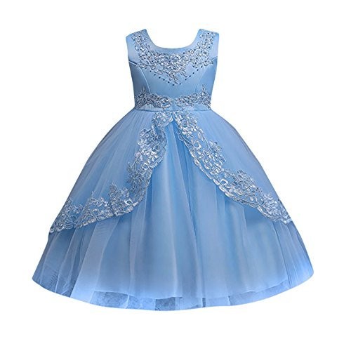 Kids Toddler Baby Girls Dresses Sleeveless Solid Lace Print Princess Party Formal Clothes (Size:4T, Blue) ()