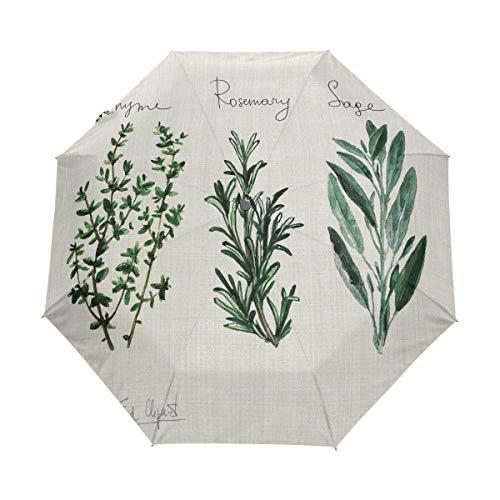 Thyme Rosemary Sage Folding Compact Travel Umbrella Auto Open Waterproof Windproof Sun Rain Umbrella for Women Men