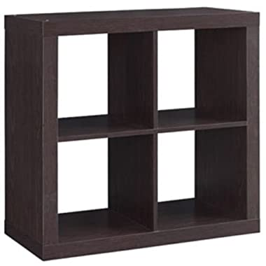 Better Homes and Gardens Bookshelf Square Storage Cabinet 4-Cube Organizer Espresso