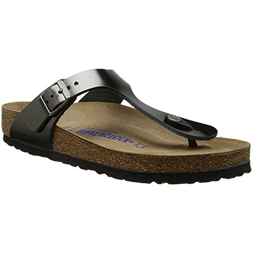 (Birkenstock Womens Gizeh Metallic Anthracite Leather Sandals 39 EU)