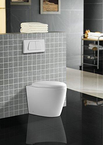 Design Boden WC Stand Toilette weiß & Nano Beschichtung (Lotus Effekt) & Soft-Close Sitz 3573FM