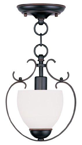 Livex Lighting 4760-67 Brookside 1-Light Convertible Hanging Lantern/Ceiling Mount, Olde (Olde Iron Mini Pendant)