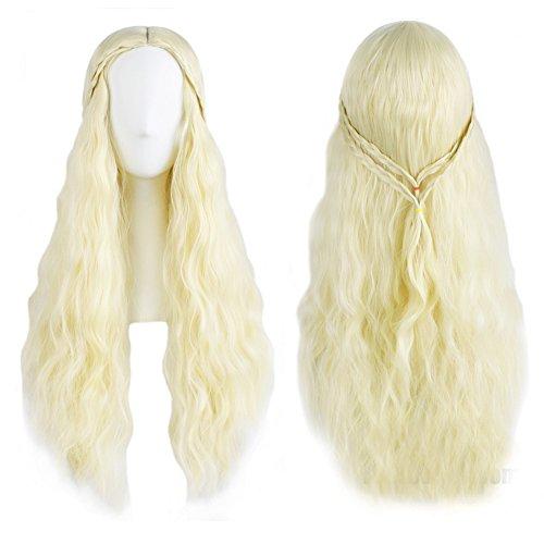 Costume Halloween Perruque (Annymall Women's Long Curly Cosplay Hair Wig for Game of Thrones Daenerys Targaryen khaleesi)