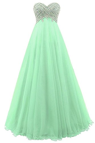Evening Sweetheart Beaded Tulle Gowns Dress Formal Prom Dresses Homecoming Maxi Mint Long Cdress wYIqXX