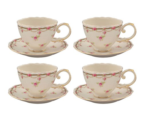 Gracie China Pink Petite Fleur Porcelain 7-Ounce Cup and Saucer, Set of (China Cup Saucer)