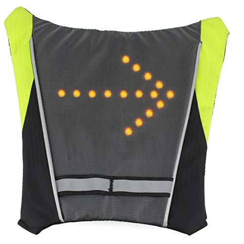 iHuniu LED Turn Signal Reflective Vest Backpack for Night Cycling Safety (Widget of Backpack - Green) (Lights Safety Vests)