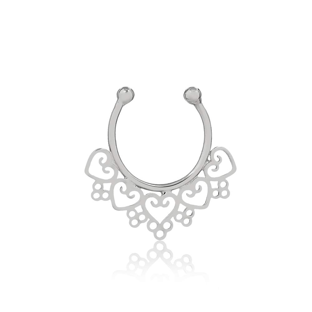 18k Solid White Gold Septum Nose Ring Hanger Hoop Non Pierced Jewelry for Women and Teens by Carol Jewelry