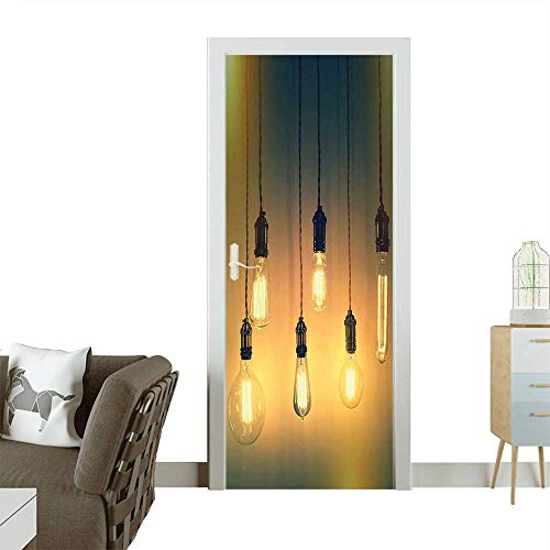 Door Sticker Wall Decals Retro Style Lighting Lamps Hanging Picture Original Concept for a Modern Art Design Easy to Peel and StickW23 x H70 INCH