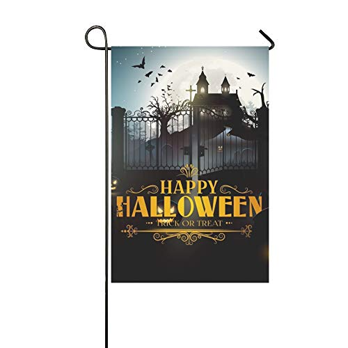 Home Decorative Outdoor Double Sided Scary Old Graveyard Farm Night Halloween Garden Flag,house Yard Flag,garden Yard Decorations,seasonal Welcome Outdoor Flag 12 X 18 Inch Spring Summer Gift]()