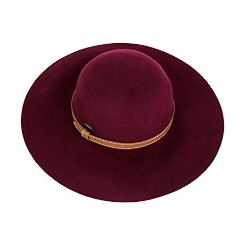 Trim Brim Hat (Elliott and Oliver Co. Vintage 100% Wool Felt Floppy Hat Fedora With Wide Brim and Vegan Leather Trim (Burgundy))