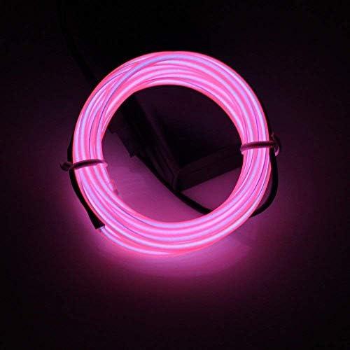 Lerway EL Draht Streifen Licht Seil Neon Flexible Drei Meter Kabel DIY Led-beleuchtung Multicolor Cosplay Halloween Weihnachten Neujahr Geburtstag Party Dekoration (Rosa)