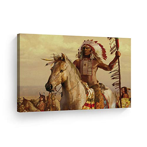 SmileArtDesign Indian Wall Art Native American Riding a White Horse Canvas Print Home Decor Decorative Artwork Gallery Wrapped Wood Stretched and Ready to Hang -%100 Handmade in The USA - 24x36