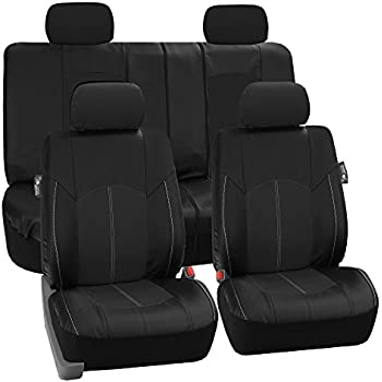 FH Group - PU008114 Perforated Leatherette Full Set Car Seat Covers, (Airbag & Split Ready), Solid Black Color - Fit Most Car, Truck, SUV, or Van