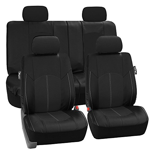 FH Group - PU008114 Perforated Leatherette Full Set Car Seat Covers, (Airbag & Split Ready), Solid Black Color - Fit Most Car, Truck, SUV, or Van]()
