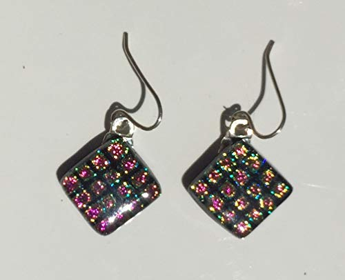 Dichroic Fused Glass Earrings - Pink and Yellow Square Patterned Earrings with Solid Sterling Silver Ear Wires