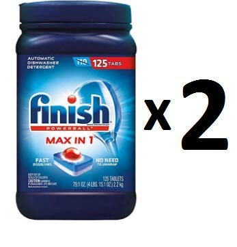 Finish Max in 1 Plus Dishwasher Detergent Easy to use Wrapper Free Powerball Tabs in Convenient Mess Free 4 Lb Snap Top Plastic Tub Fresh Scent 2 pack