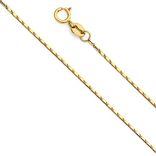 14k Yellow Gold Solid 1mm Snail Link Chain Necklace with Spring Ring Clasp - 20