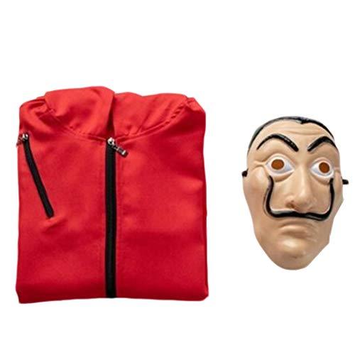 Traje de la Casa de Papel con Mascara,Mono Cosplay Trajes de Adultos Niños Careta Disfraz Carnaval Navidad Halloween Halloween
