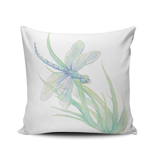 (Fanaing Original Watercolor Dragonfly in Blue and Green Pillowcase Home Sofa Decorative 20x20 Inch Square Throw Pillow Case Decor Cushion Covers Double-Sided Printed)
