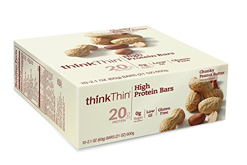 thinkThin High Protein Bars, Chunky Peanut Butter, 2.1 Ounce (pack of 10) (Peanut Butter Portion)