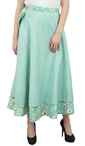 Menthe Longue Jupe Coton Verte rversible Floral Phagun Cover en Up imprim Portefeuille vRTqExB