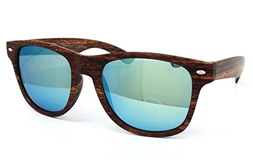 O2 Eyewear CH53 Faux Wood Reflective Revo Color Lens Horn Rimmed Sunglasses (Faux Wood, GOLD - Faux Wood Sunglasses